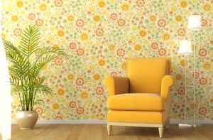 3d scene of interior with armchair and flowery wallpaper